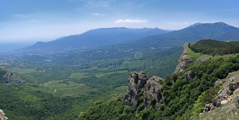 Mount Demerdzhi in the Crimea. Crimea. Beautiful view from the mountain Demerdzhi Valley of ghosts stock photo