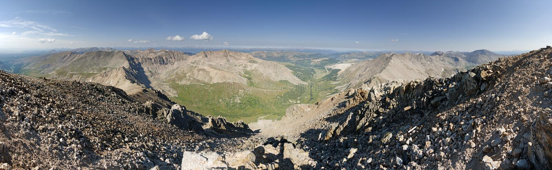 Mount Democrat Summit Panorama. Panorama from the summit of Mount Democrat a Colorado fourteener royalty free stock photography