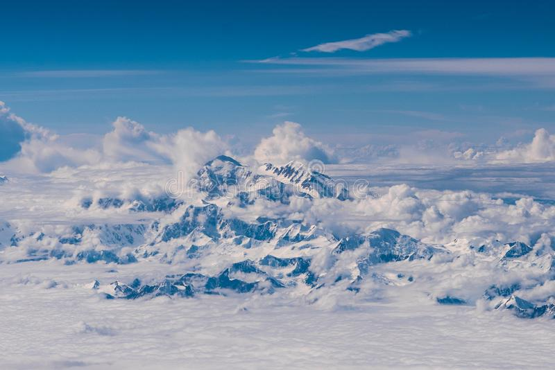 Mount Denali from the Air, Alaska stock images