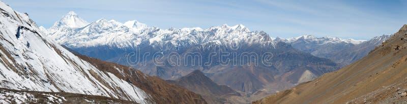 Mount Dhaulagiri from Thorung La pass. Dhaulagiri, view of mount Dhaulagiri from Thorung La pass, Nepal royalty free stock photography