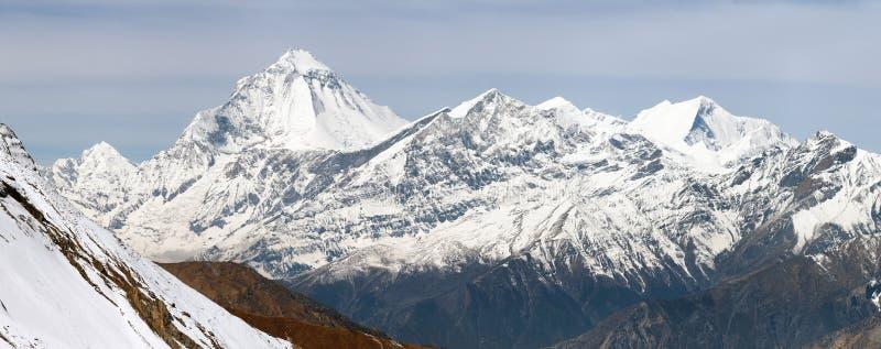 Mount Dhaulagiri from Thorung La pass. Dhaulagiri, view of mount Dhaulagiri from Thorung La pass, Nepal stock photography