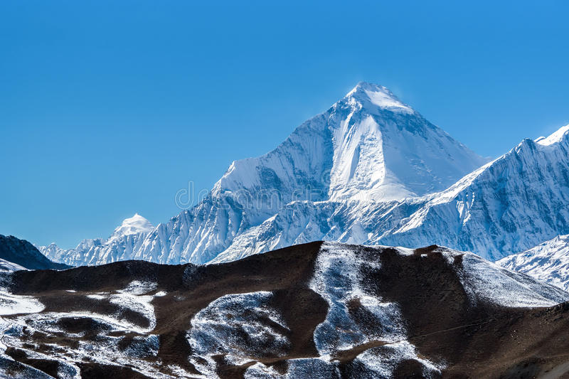 Mount Dhaulagiri, view from Muktinath temple stock photo
