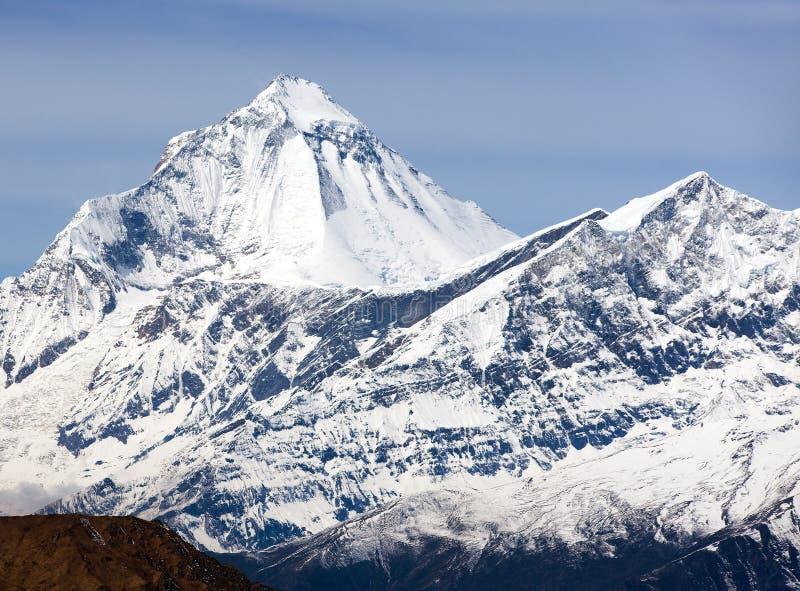 Mount Dhaulagiri, view from Thorung La pass. Mount Dhaulagiri, view of mount Dhaulagiri from Thorung La pass with beautiful sky, round Annapurna circuit trekking royalty free stock image