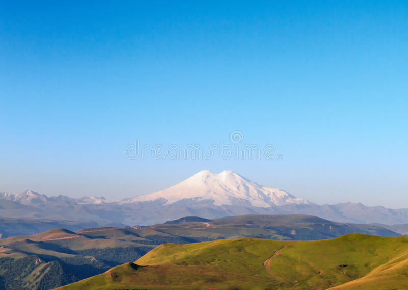 Mount Elbrus, Russia. Mount Elbrus - Is a dormant volcano located in the western Caucasus mountain range, Russia stock image
