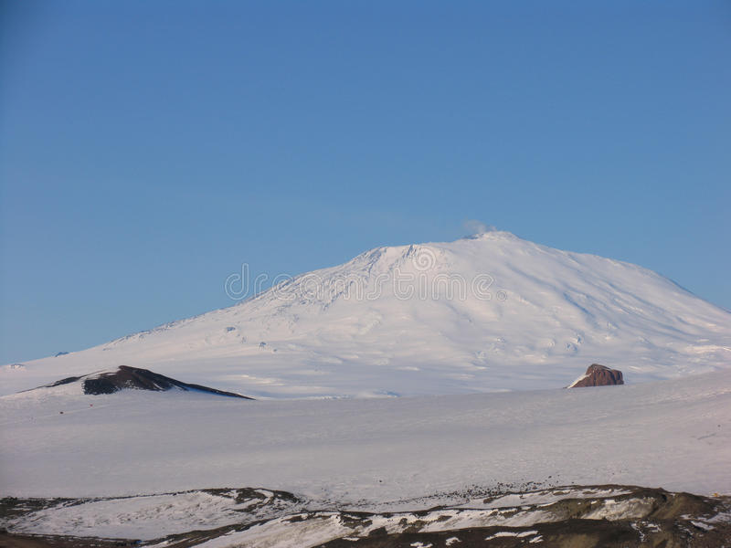 Mount Erebus. The active volcano Mount Erebus located on Ross Island Antarctica. The USAP station McMurdo is located on Ross Island royalty free stock image