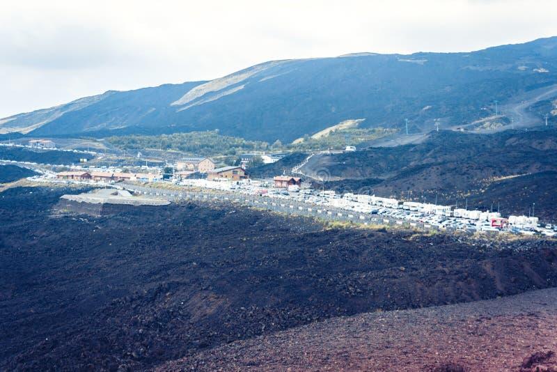 Mount Etna aktiv vulkan på ostkusten av Sicilien, Italien fotografering för bildbyråer
