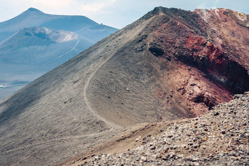 Mount Etna aktiv vulkan på ostkusten av Sicilien, Italien arkivfoto