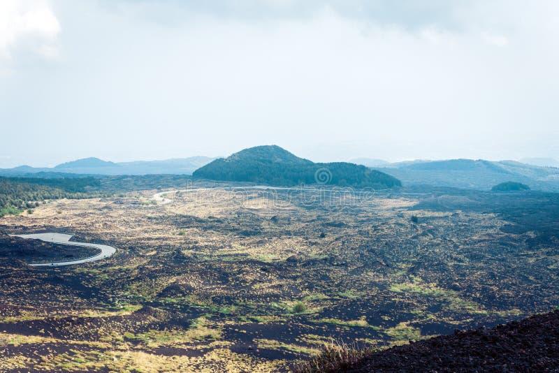 Mount Etna aktiv vulkan på ostkusten av Sicilien, Italien royaltyfria foton