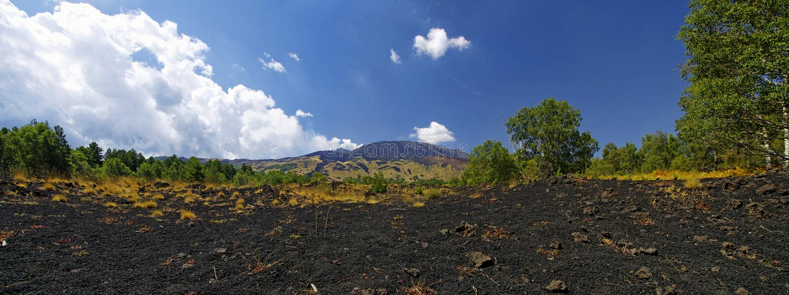 Mount Etna landscape, Sicily, Italy. Mount Etna landscape with volcano craters in Sicily, Italy stock photo