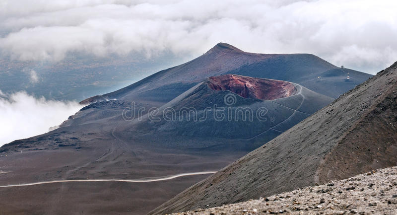 Lateral crater, Mount Etna, Sicily stock photography