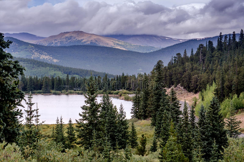 Mount Evans mountain range in Colorado stock photography