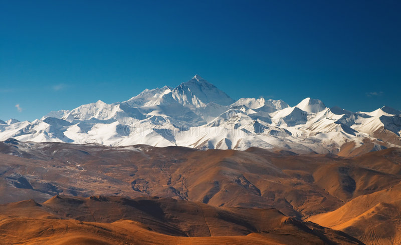 Mount Everest. View from Tibet stock photo