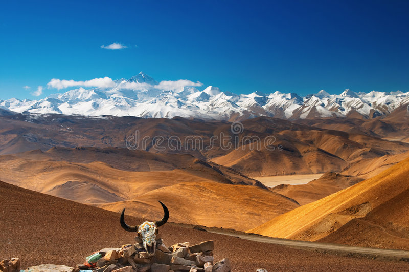 Mount Everest. View from Tibet stock photos