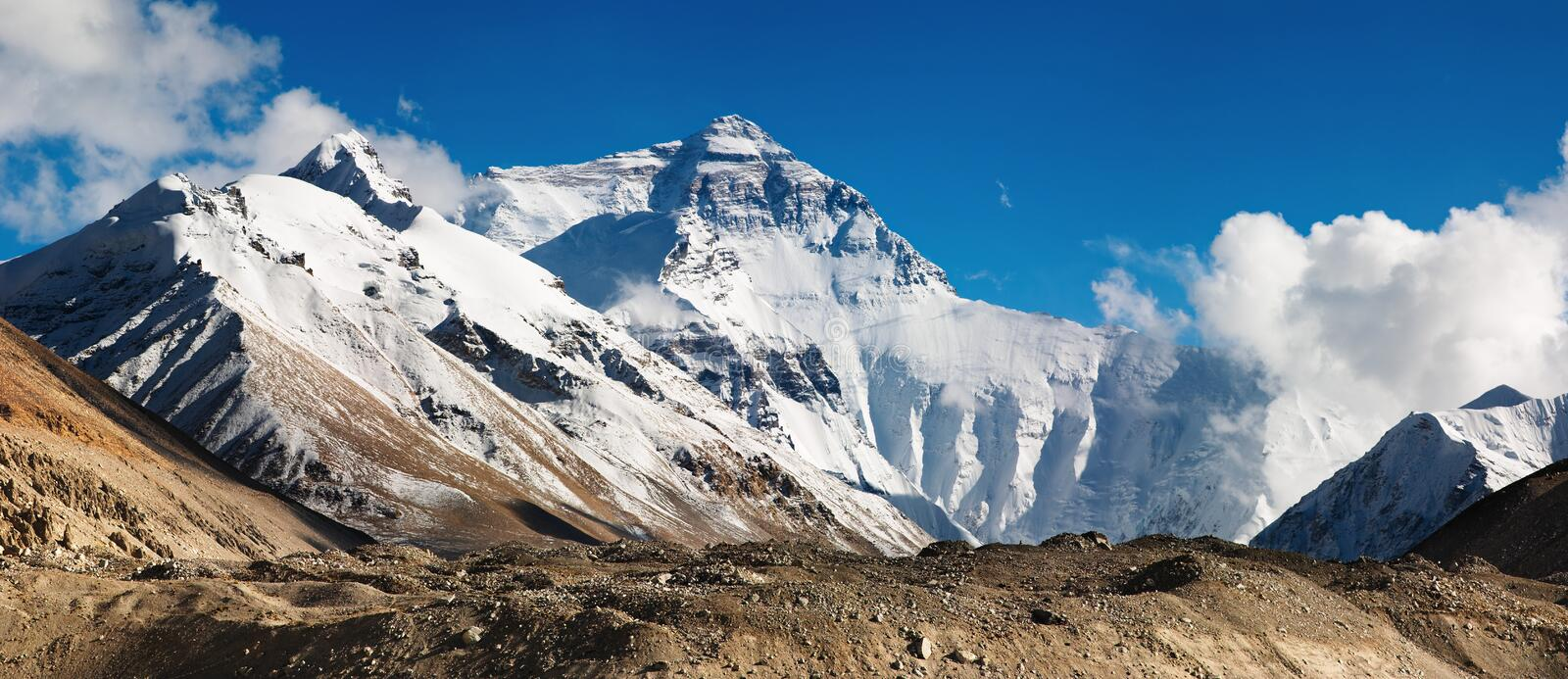 Mount Everest. North Face, view from tibetan base camp royalty free stock image