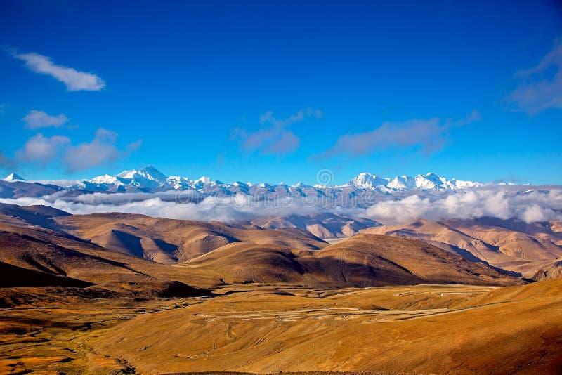Mount Everest, Berg Makalu, Berg Lhotse, Berg ChoOyo stockbild