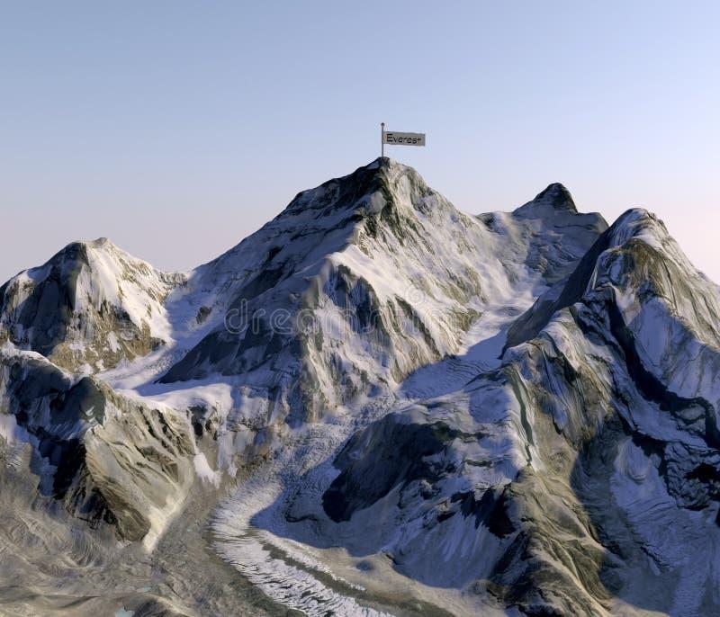 Mount Everest höjder av lättnader, det högsta berget i världen Satellit- sikt Sida av Nepal framförande 3d royaltyfri illustrationer