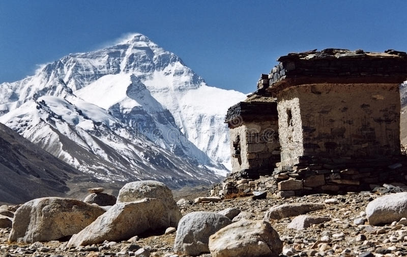 Mount Everest, the highest in the world, 8850m. royalty free stock image
