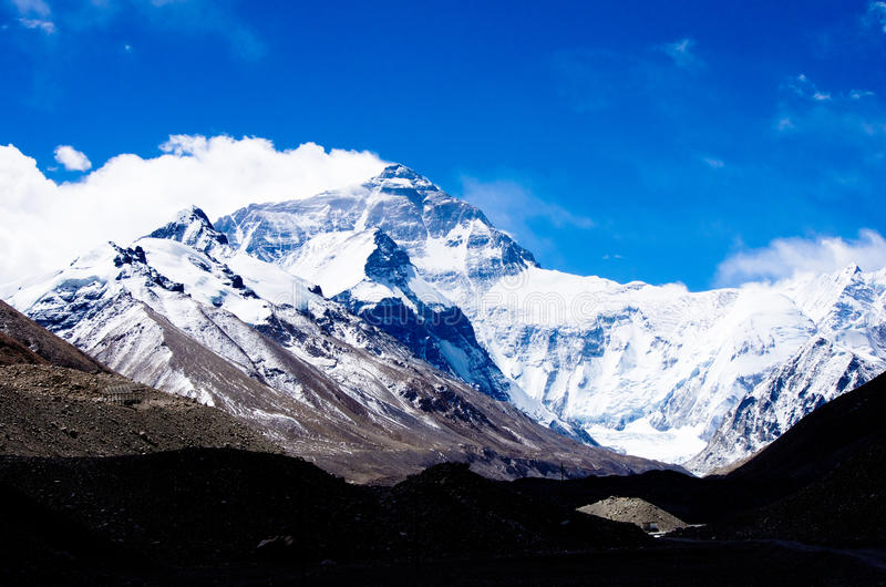 Mount Everest. North face of Mount Everest from Mt Everest Base Camp, Tibet, China stock photo