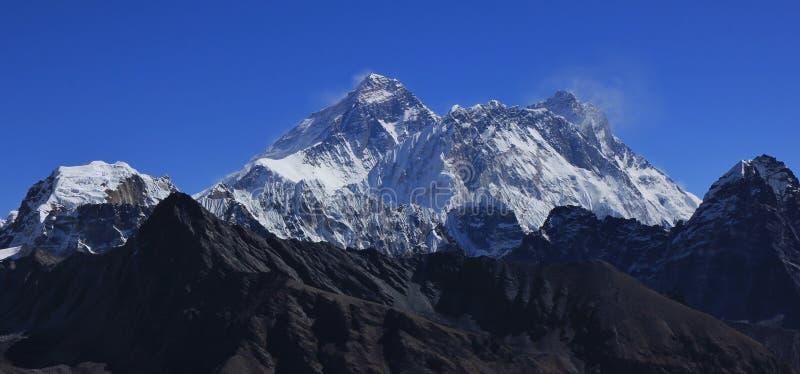 Mount Everest, Nuptse and Lhotse royalty free stock photography
