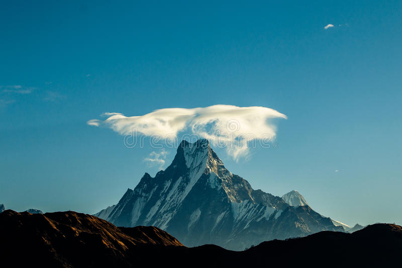 Mount Fishtail. This Mount Fishtail Photo taken at Poonhill, Nepal. this is very famous trekking route for view Mountain range and Sunrise royalty free stock photo