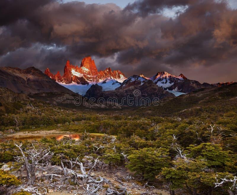 Download Mount Fitz Roy at sunrise stock image. Image of glacier - 33573845