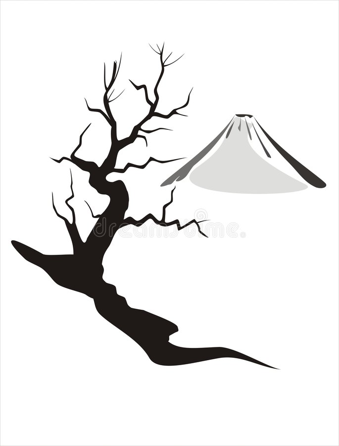 Mount Fuji. At wintertime with a silhouette of a bald, small tree royalty free illustration