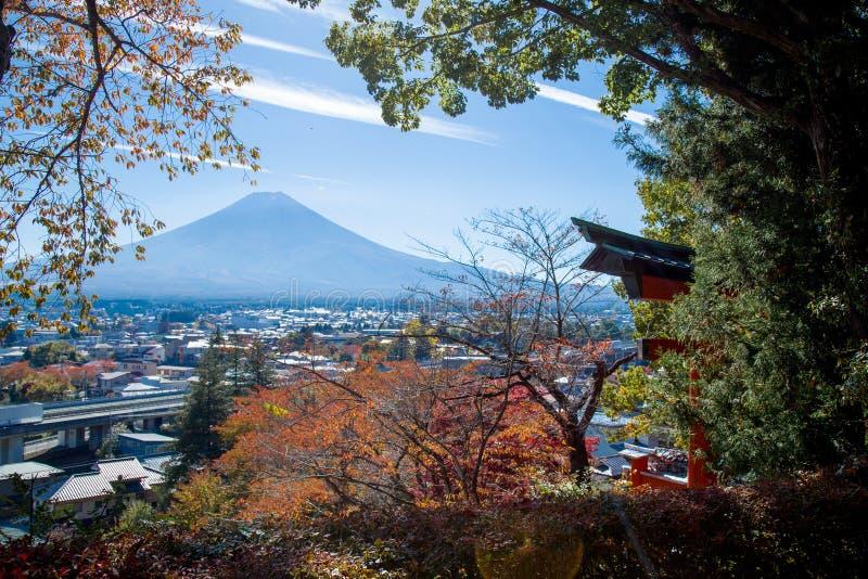 Mount Fuji beskådade från sjön Kawaguchiko arkivbild