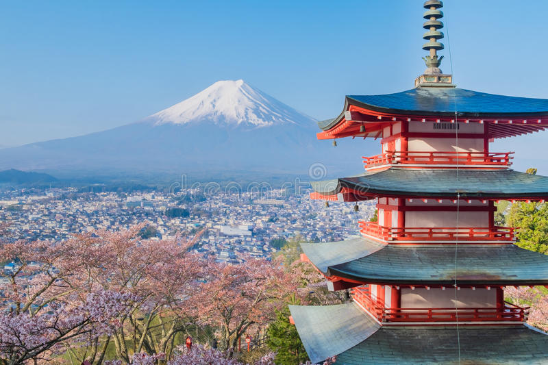 Mount Fuji and Chureito Pagoda with cherry blossom sakura in spring season royalty free stock photography