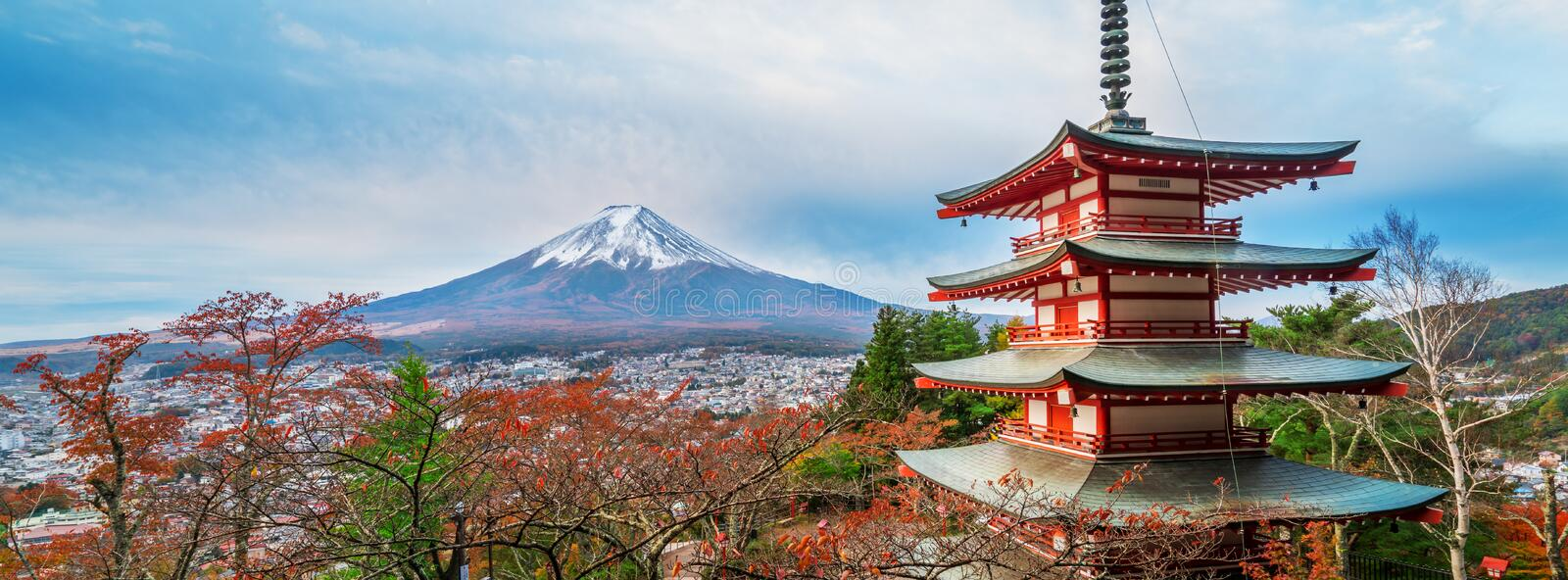 Mount Fuji, Chureito Pagoda in Autumn stock photo