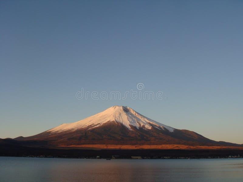 Mount Fuji at dawn over lake Kawaguchi stock photography