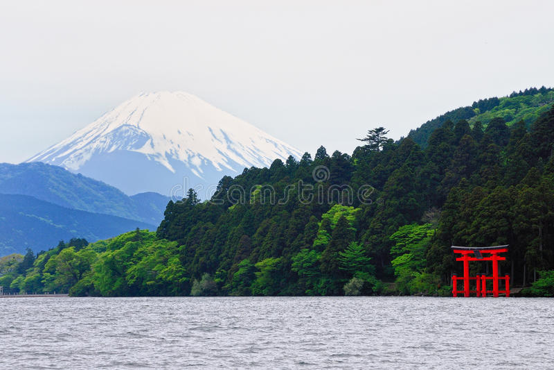 Mount Fuji and Hakone Shrine stock photos