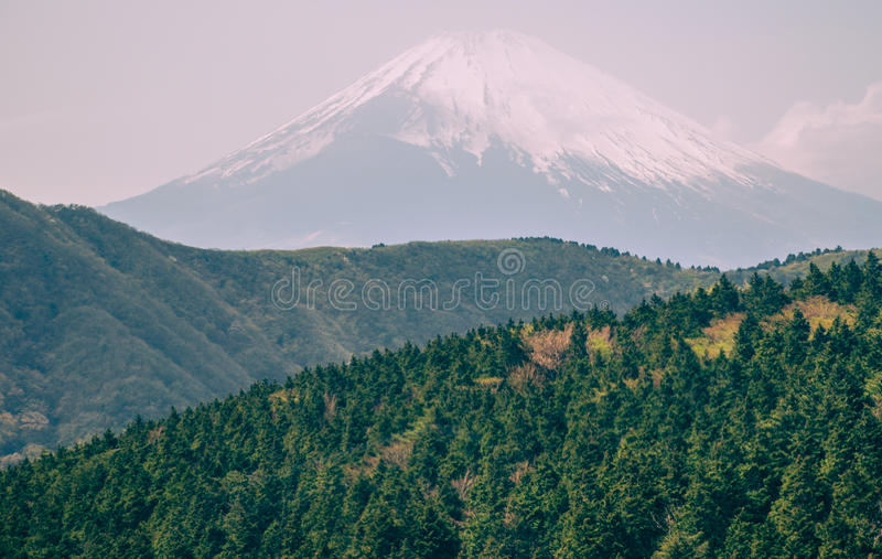 Mount Fuji and Hakone. Hakone Shrine's Torii, Lake Ashi and Mount Fuji stock photography