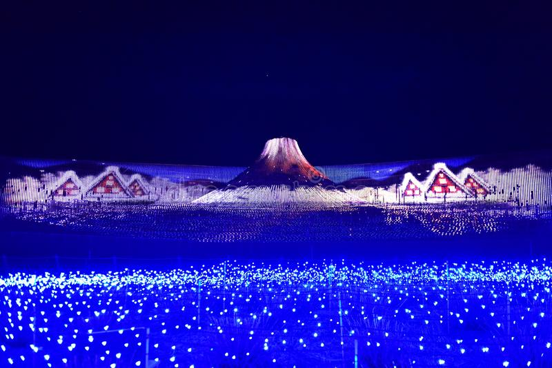 Mount Fuji island light display at Nabana no Sato in Nagoya in Japan royalty free stock image