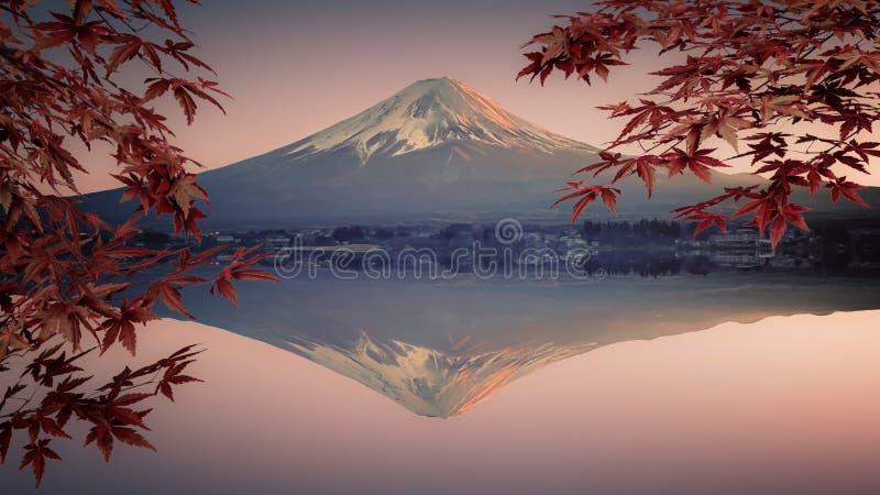 Японский ландшафт на заходе солнца стоковые изображения rf