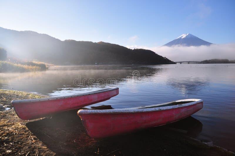 Mount Fuji and Kawaguchiko lake stock photos