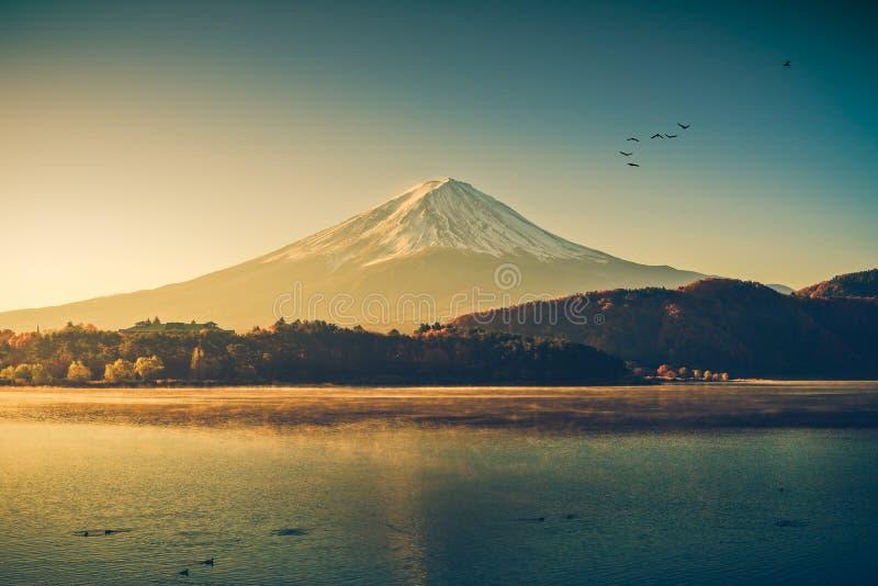 Mount fuji at Lake kawaguchiko,Sunrise. Vintage tone royalty free stock image