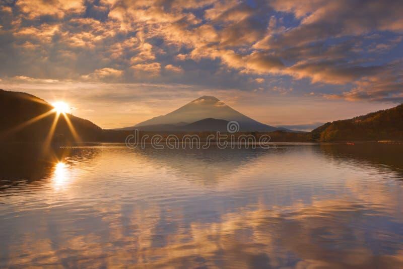 Mount Fuji and Lake Shoji in Japan at sunrise stock image