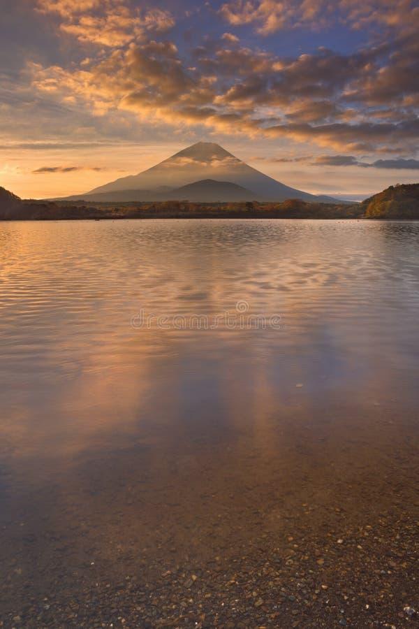 Mount Fuji and Lake Shoji in Japan at sunrise. Mount Fuji (Fujisan, 富士山) photographed at sunrise from Lake Shoji (Shojiko stock images