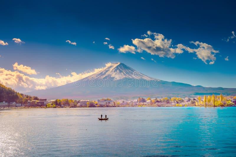 Mount Fuji and Lake Shojiko at sunrise in Japan.  royalty free stock photos