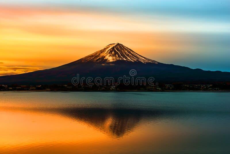Mount Fuji and Lake Shojiko at sunrise in Japan.  royalty free stock photography