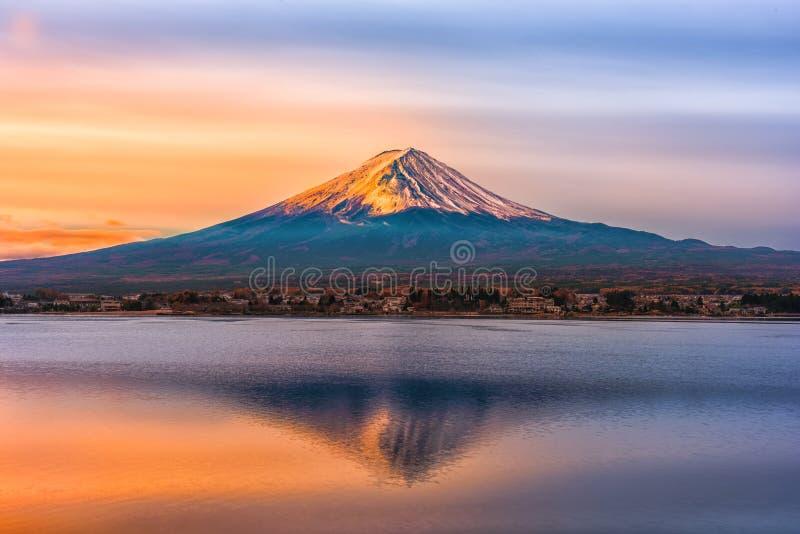 Mount Fuji and Lake Shojiko at sunrise in Japan.  stock photos