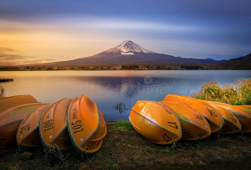 Mount Fuji and Lake Shojiko at sunrise in Japan. Mount Fuji and Lake Shojiko at sunrise in Japan royalty free stock photography