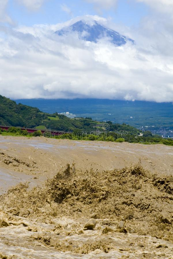 Download Mount Fuji With Muddy River Stock Image - Image: 8616997