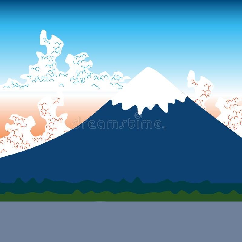Mount Fuji, nature Flat mountain japan landscape. Water lake, forest mountain with snow-capped peaks, white clouds, blue pink sky, vector illustration