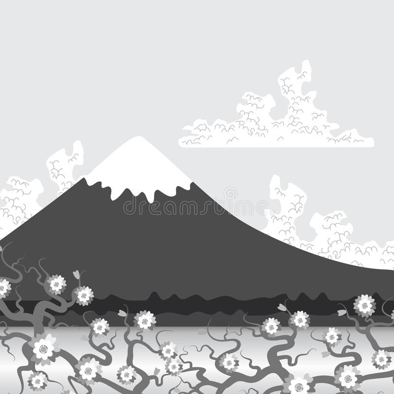Mount Fuji, nature Flat mountain japan landscape. Water lake, forest mountain with snow-capped peaks, white clouds, sky, sakura fl. Ower, Cherry. Vector royalty free illustration