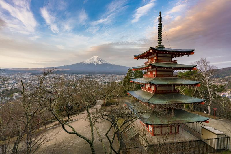 Mount Fuji and pagoda at sunrise. View of Mount Fuji and pagoda at sunrise stock photo