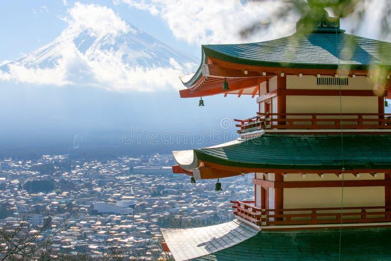 Mount Fuji and red pagoda or Chureito Pagoda stock photo