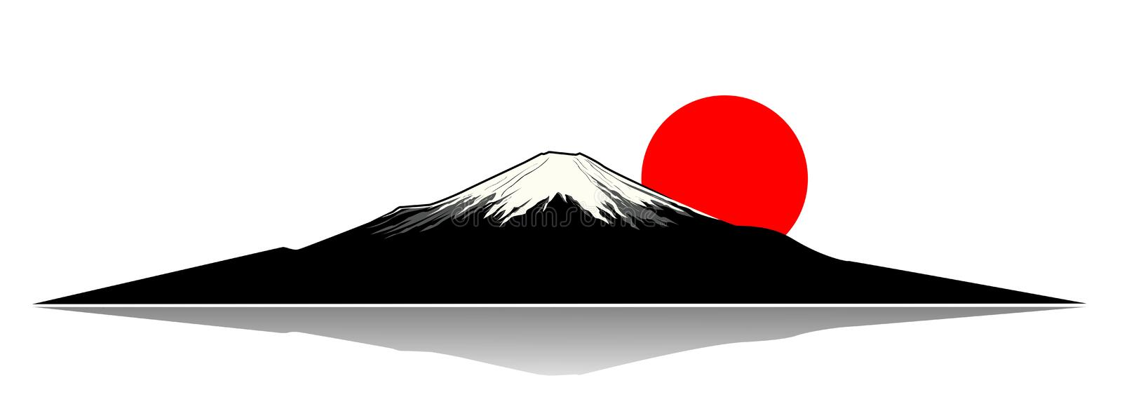 Mount Fuji. And the red sun silhouette vector illustration