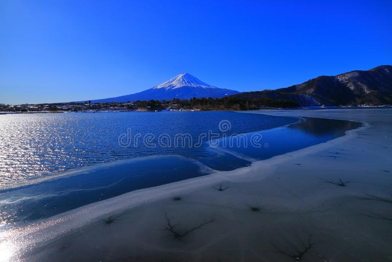 Mount Fuji from the root ground beach of Lake Sai Japan. 02/14/2018 royalty free stock image