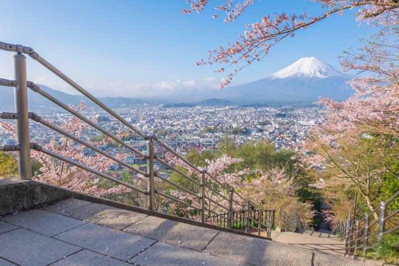 Mount Fuji in spring with Cherry blossom Sakura stock photos